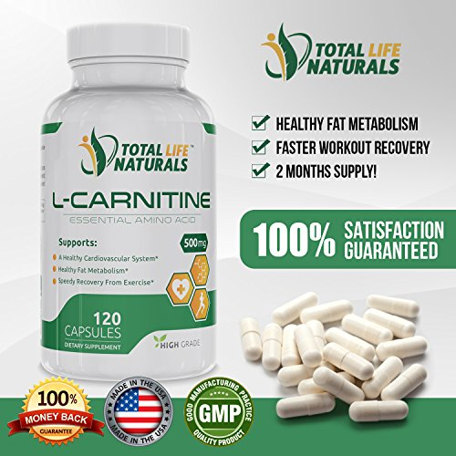 L Carnitine Tartrate 500mg Capsules (120), Natural Fat Burner & Weight Loss Support Supplement for Men & Women | Made in the USA by Total Life Naturals
