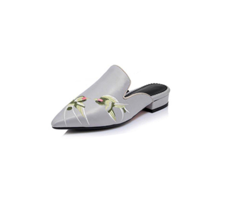 DANDANJIE Sandales de Femmes 32-44) D Été (Rouge de et Broderie de Soie Rétro Pointée Chaussures à Talons Bas Chaussures Plates Pantoufles de Mode (Rouge Noir Gris 32-44) Gray bcf6696 - jessicalock.space