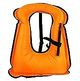iRunzo Snorkel Vest - Inflatable Buoyancy Compensator for Adult Kids Diving Swimming (Orange, Adult)