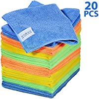 Masthome 4-Colors Clean Rags 20 Pack 16 X 12.2 Inch Highly Absorbent Cleaning Cloths No Fabric Soft Microfiber Kitchen...