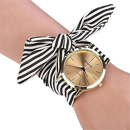Analog Floral Dial (Dressin Women's Stripe Floral Cloth Strap Dial Quartz Wristwatch Bracelet Watch (A))