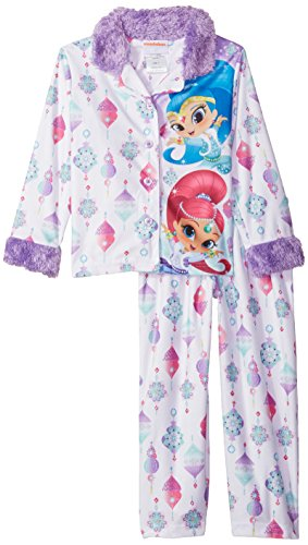 Nickelodeon Little Girls' Shimmer and Shine 2-Piece Pajama Coat Set, Diamond White, 6