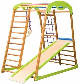 KindSport Centro de Actividades con tobogán Babywood, Red de Escalada, Anillos, Escalera Sueco, Campo de Juego Infantil
