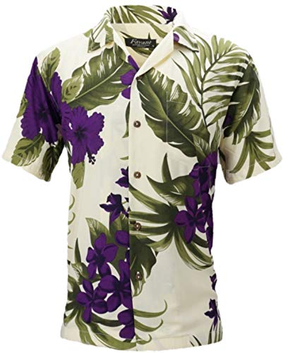 Tropical Luau Beach Floral Print Men's Hawaiian Aloha Shirt (Small, (Purple Floral Shirt)