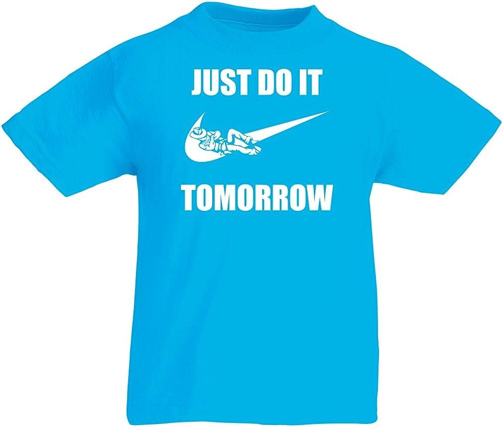 lepni.me Kids T-Shirt Just Do It Tomorrow Workout Tops Funny Sayings Parody