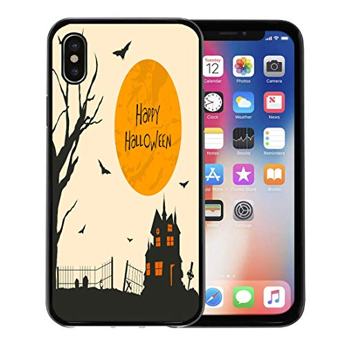 Emvency Phone Case for Apple iPhone Xs Case/iPhone X Case,Creepy Vintage for Happy Halloween Party Haunted House Dead Soft Rubber Border Decorative, Black]()