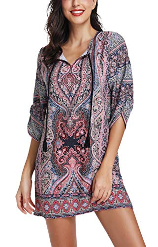 Women Bohemian Print V Neck Casual Dress Ethnic Style Summer Tunic Top (S, 22)]()