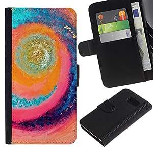 LASTONE PHONE CASE / Lujo Billetera de Cuero Caso del tirón Titular de la tarjeta Flip Carcasa Funda para Samsung Galaxy S6 SM-G920 / Wave Surfing Summer Sun Rad Sea