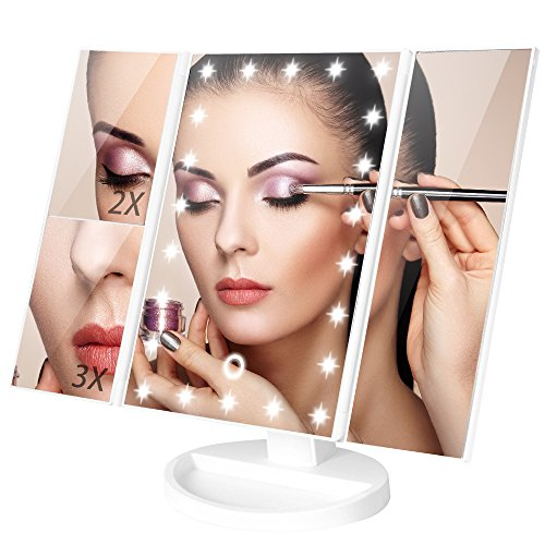 Minilabo Vanity Mirror Light Touch Trifold Dimmable Led Makeup Mirror with Magnifier Vanity Mirrors (2X /3X) 180°Rotatable Degree, 3Panel Vanity Mirror of Dual Recharge Ways (White) (Storage Panel Recess)