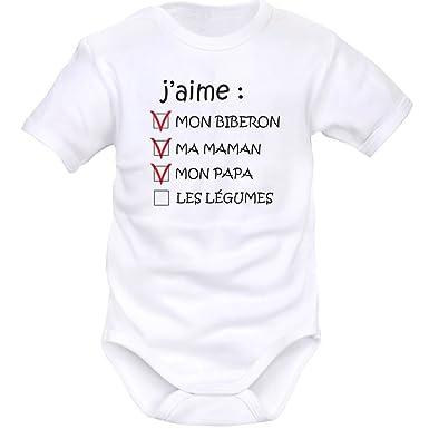81abea16e635f Body bébé rigolo   j aime mon BIBERON  Amazon.fr  Vêtements et ...