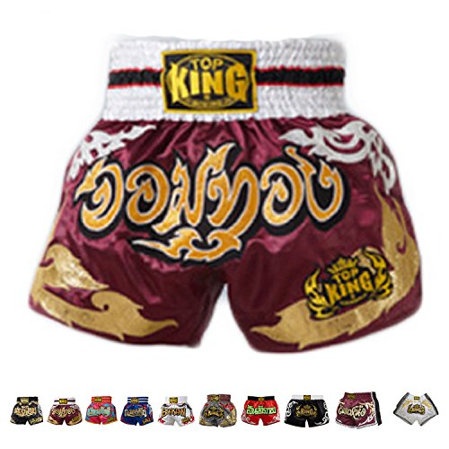 KINGTOP Top King Boxing Muay Thai Shorts Normal or Retro Style Size S, M, L, XL, 3L, 4L (Red Jom Thong M)