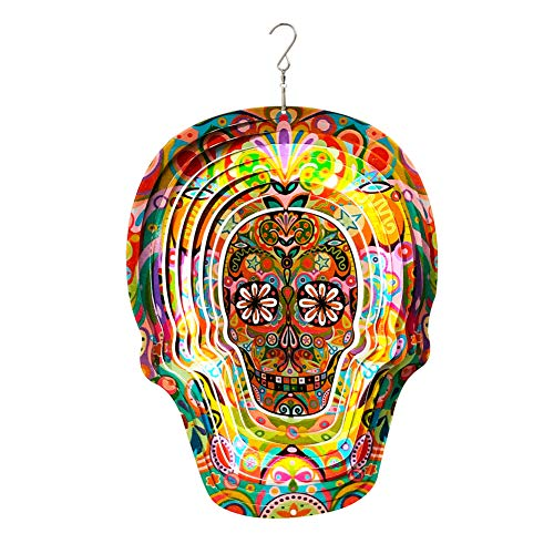 FONMY Kinetic 3D Metal Garden Wind Spinner Quality Hanging Ornament for Home and Garden 12inch Mandala Red Sugar Skull Wind Spinners