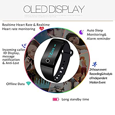 Fitness Tracker, Sport Wristband Pedometer Bluetooth 4.0 Waterproof Fitness Watch with Heart Rate Monitor Smart Bracelet for Android iOS Smartphone (Black)