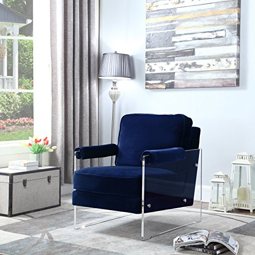 (Iconic Home Logan Modern Contemporary Acrylic Frame Upholstered Arm Velvet Accent Chair, Navy)