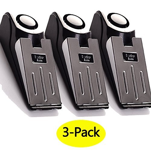 3-Pack Upgraded Door Stop Alarm -Great for Traveling Security Door Stopper Doorstop Safety Tools for Home Set of 3 by FEENM