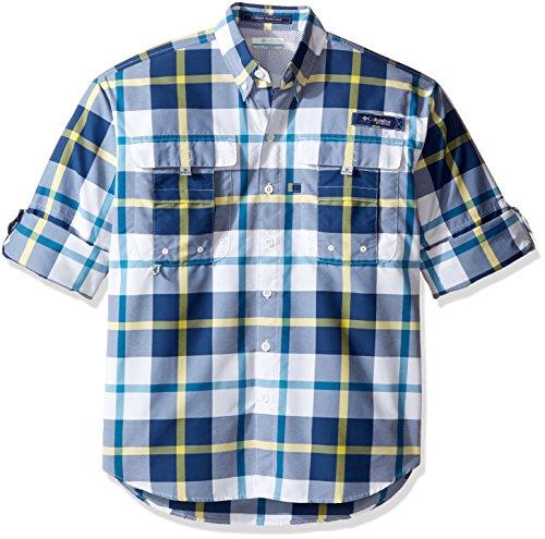 Columbia Sportswear Mens Super Bahama Long Sleeve Shirt, Carbon Multi Plaid, Medium