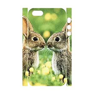 3D Yearinspace Kissing Bunnies IPhone 5,5S Cases, Scratch Resistant Iphone 5s Cases for Teen Girls Protective {White}