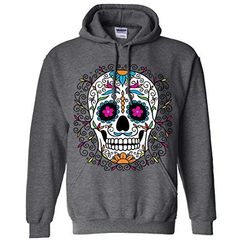 Dia De Los Muertos Pastel Sugar Skull Sweatshirt Hoodie - Dark Heather 3X-Large