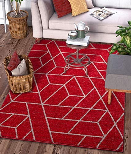 Well Woven Plaza Geometric Red Modern Lines Angles Tiles Shapes Area Rug 8×11 7 10 x 9 10 Carpet