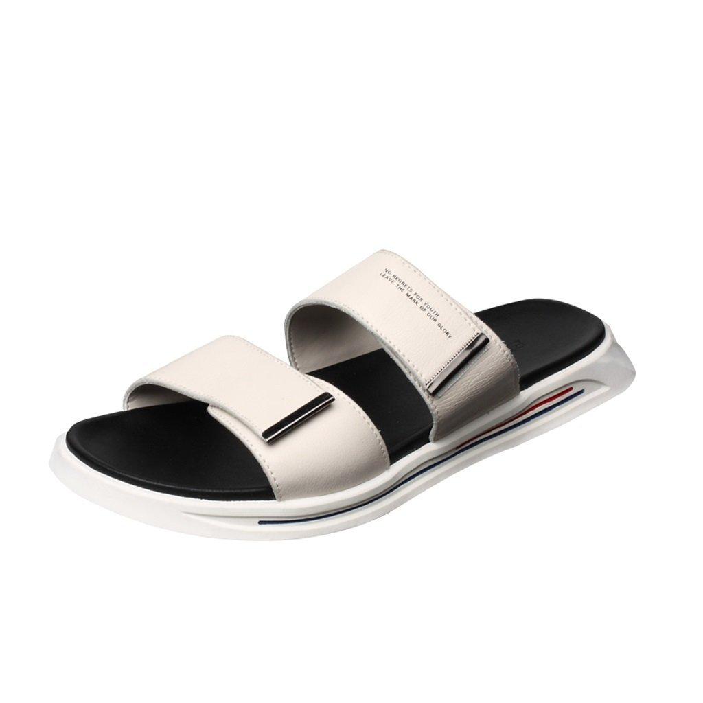 TIANYINI XIE Zapatillas para Hombre Chanclas de Cuero de Moda para el Verano Sandalias de Hebilla de Moda Simple Blanco 40-44 (us7.5-10) (uk7-9.5) (Tamaño : 43(US 9)(UK 8.5)) 43(US 9)(UK 8.5)