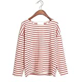 Woman Long Sleeve Crew Neck Striped Bat Sleeved T-shirt (red)