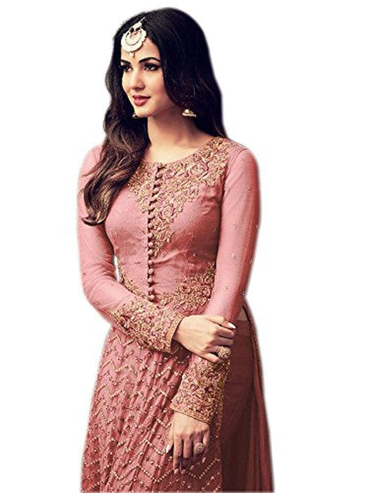 RANGE OF INDIA Womens Designer Indian Anarkali Suit Ethnic Pink Gold Embroidered Dress