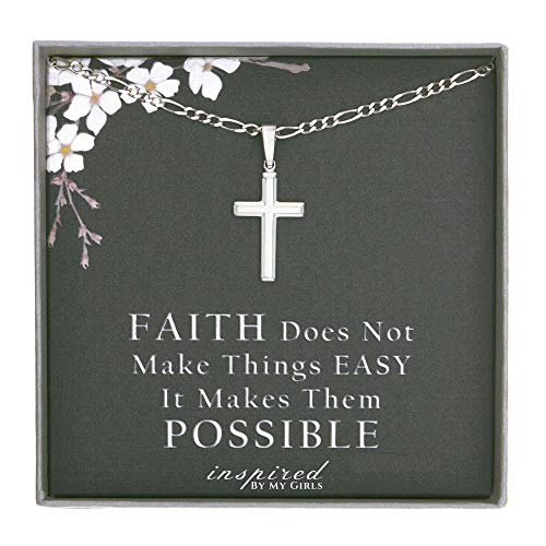 Womens Sterling Silver Cross Pendant with Figaro Chain Necklace Faith Keepsake Card Gift - 060-18