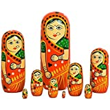 ITOS365 Hand Painted - Nesting Doll - Wooden Decoration Gift Doll - Stacking Nested Wood Dolls for Kids - Set of 9 (9 dolls in 1)