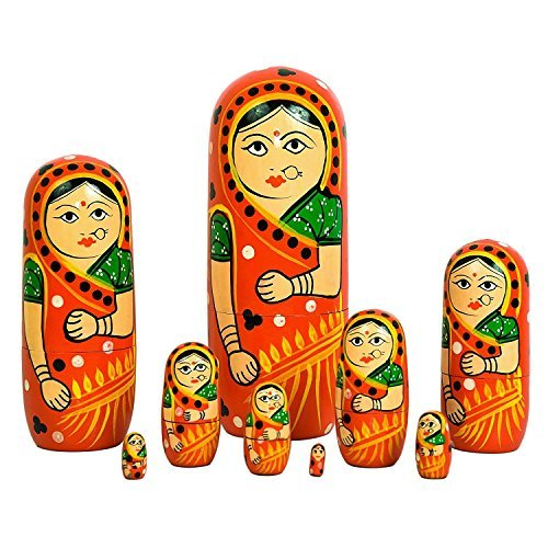 ITOS365 Hand Painted - Nesting Doll - Wooden Decoration Gift Doll - Stacking Nested Wood Dolls for Kids - Set of 9 (9 dolls in 1) - Hand Painted Nesting Dolls
