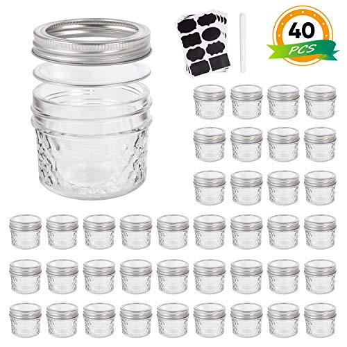 Mason Jars, Canning Jars,Glass jars,4 OZ Jelly Jars With Regular Lids and Bands(Silver),Ideal for Honey,Jam,spices,Wedding Favors,Shower Favors,Baby Foods,Pack of 40