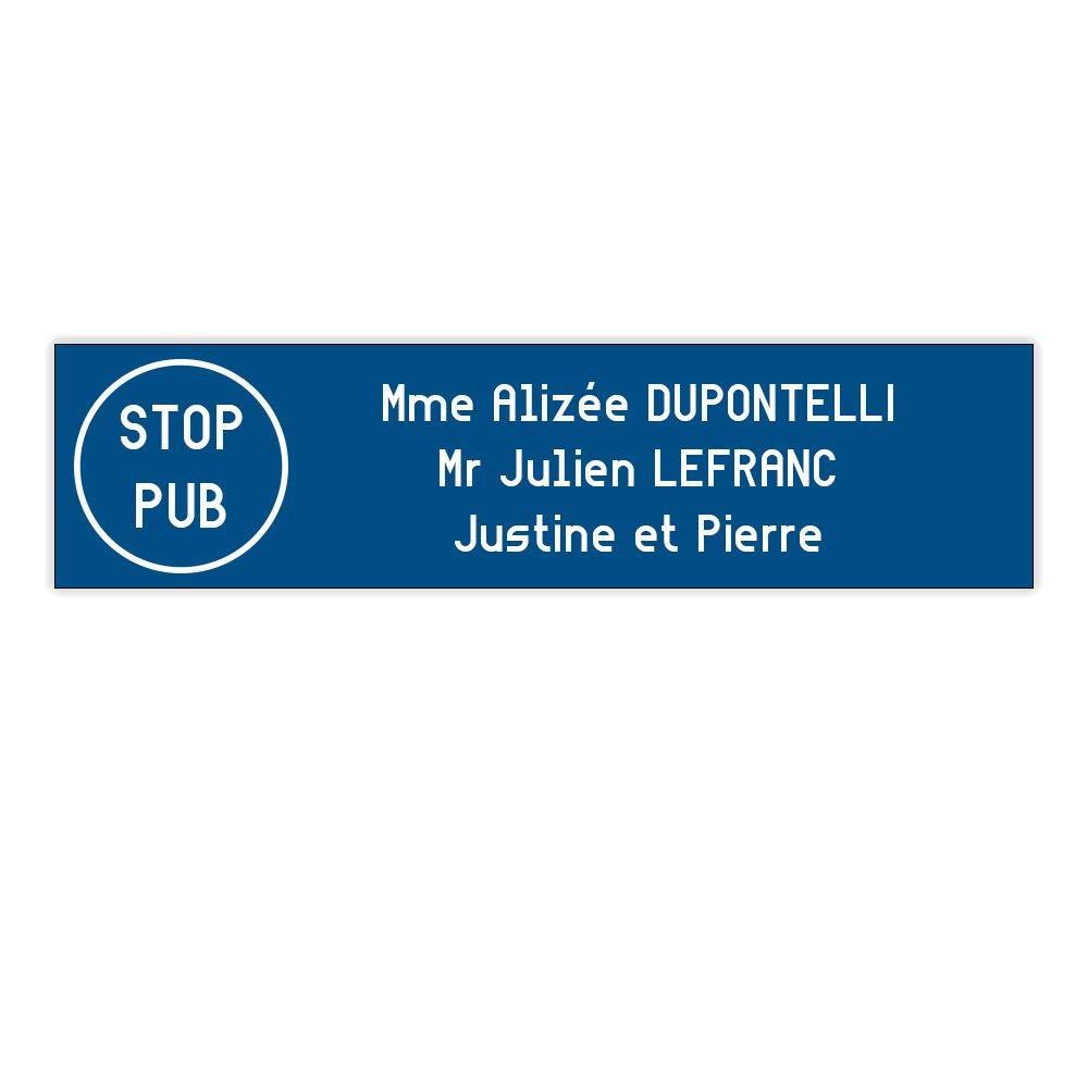 Plaque boite aux lettres Edelen STOP PUB (99x24mm) bleue lettres blanches - 3 lignes DECOHO