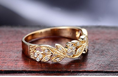 6da50bd4934 Amazon.com  Milgrain Marquise and Dot Leaf Design 18k Yellow Gold ...