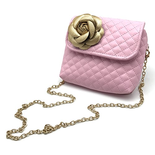 Flowers Gold Bag - Elesa Miracle Kids Girl Quilted Leather Crossbody Handbag Purse, Chain Bag Little Girl Metal Chain Strap Bag (Pink with Gold Flower)