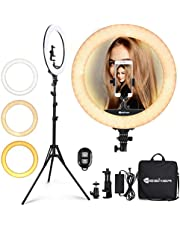 Ring Light 18 Inch 42W LED Ringlight Kit with Tripod Stand with Phone Holder Adjustable Color Temperature Circle MUA Lighting for iPhone Camera for for Vlog, Makeup, YouTube, Video Shooting, Selfie