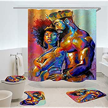 SARA NELL African King&Queen Black Wall Art Printing Toilet Pad Cover Bath Mat Shower Curtain Set Four-Piece Set (7272 inch, African King&Queen Bathroom 4 Sets) ¡­