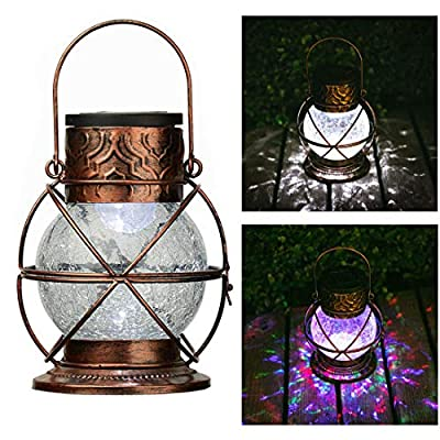 Go2garden Solar Lantern Outdoor Hanging Garden Lights, Decorative Rainbow Lamp Metal&Glass for Patio Tabletop Decorations (Bronze)