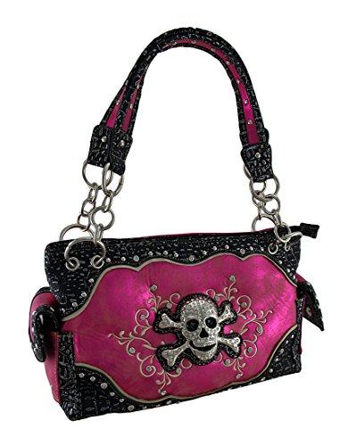 Rhinestone Skull Embroidered Swirls Metallic Trim Concealed Carry Purse Vinyl Womens Shoulder Handbags Hot Pink (Swirl Skull)