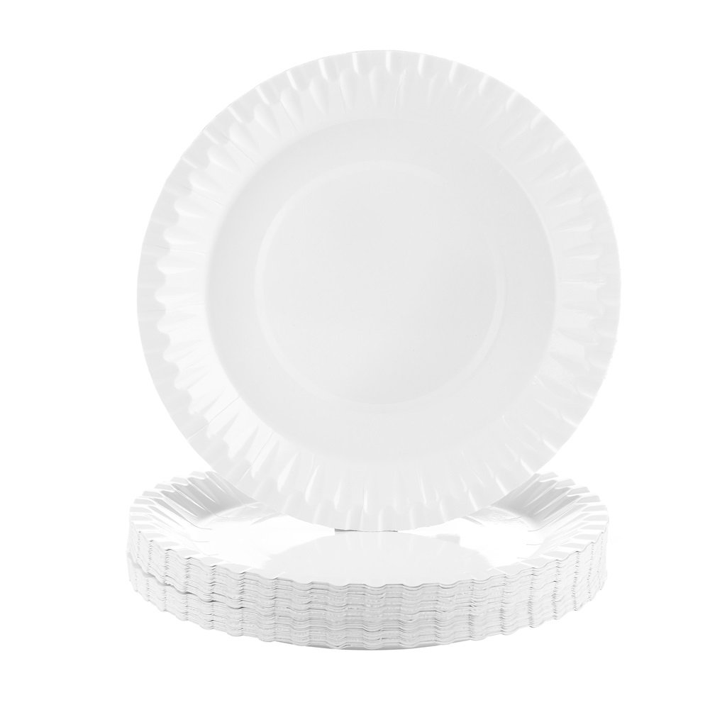 Disposable White Coated Paper Plates, 7.1-inch Everyday Dinnerware,100 Count by Transfertex