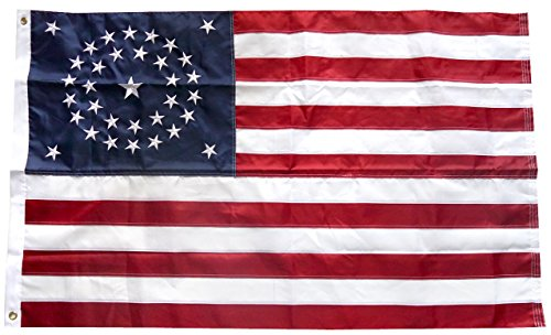 (Moon 3x5 Embroidered USA American 34 Stars Union Nylon Flag Star Civil War Premium Vivid Color and UV Fade Best Garden Outdor Decor Resistant Canvas Header and Polyester Material Flag)
