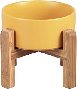 LIONWEI LIONWELI Yellow Ceramic Elevated Raised Cat Bowl with Wood Stand No Spill Pet Food Water Feeder Cats Small Dogs