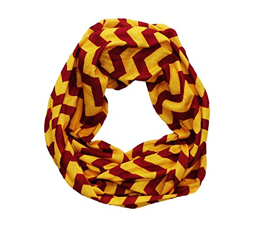 Dark Red & Gold Chevron Infinity Scarf]()