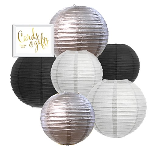 Andaz Press Hanging Paper Lantern Party Decor Trio Kit with Gold Party Sign, White, Black, Silver, 6-Pack, For New Year's 2018 2019 2020 - Wedding Black Silver And Decor