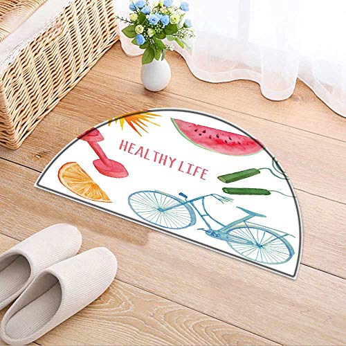 (Semicircle Area Rug Carpet Town Objects Set Drawn Isolated s in Vector Builds Trees Lamps Door mat Indoors Bathroom Mats Non Slip W31 x H20 INCH)