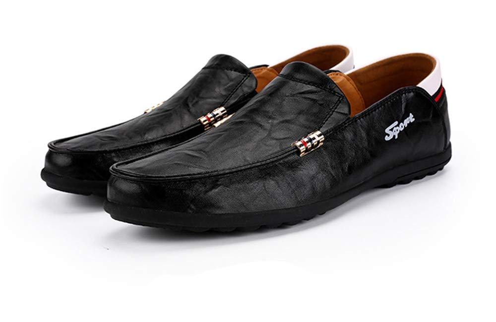 ZHRUI Große Größen Mann Beleg auf Müßiggängern für Mann Größen weiche alleinige Nicht Beleg zufällige Treibende Schuhe (Farbe : Schwarz, Größe : EU 46) Schwarz b14404