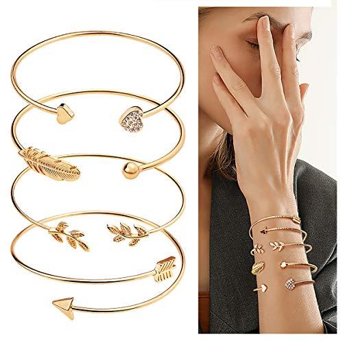 Suyi 4 Pcs Adjustable Cuff Bracelet Open Wire Bangle Stackable Wrap Bracelet Set for Women Girls