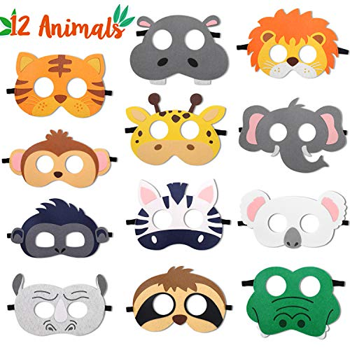 CiyvoLyeen Safari Jungle Animal Felt Masks Wild Animal Theme Birthday Party Favors Kids Costumes Dress-Up Party Supplies(12 Pieces)