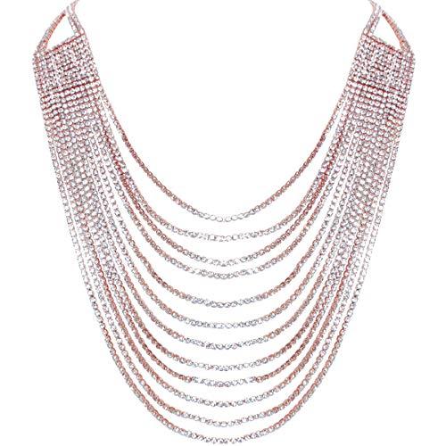 - Humble Chic Layered Statement Necklace - Darling Waterfall Simulated Diamond CZ Crystal Multi-Chain Bib, Rose Gold-Tone, Metallic Pink