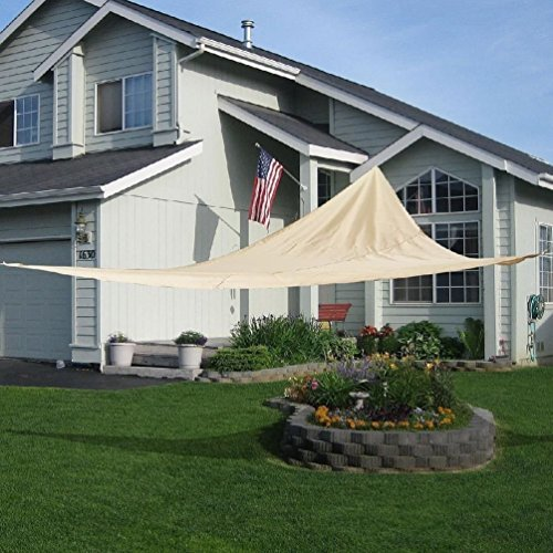 Cherry Queen 18' x18'x18' Triangle Sun Shade Sail UV Top Outdoor Canopy Patio Lawn Beige (Sun Shades Box compare prices)