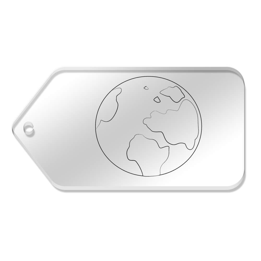 chic 10 x Large 'Planet' Clear Gift / Luggage Tags (TG00021506)