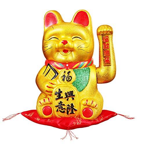 "9"" Waving Lucky Fortune Cat Maneki Neko Japanese Porcelain Lucky Cat #20CM"